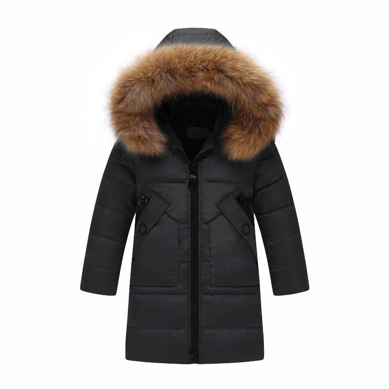 Children Kids Girls Boys Duck Down Thin Coats Long Jacket Parka Outwear Black