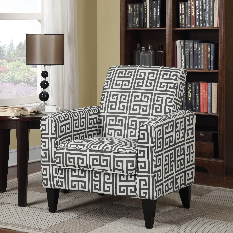 Portfolio Tia Charcoal Grey Greek Key Arm Chair Grey Ivory