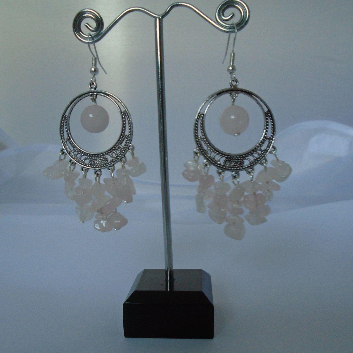 Sterling Silver Rose Quartz Chandelier Earrings, Handmade Pink Gemstone Chandelier  Earrings