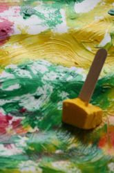 Freeze Paint in ice cube trays (with a craft stick handle) and then paint outside with it on a hot day.