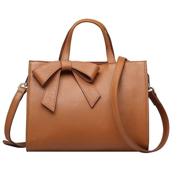 Brown Small Bow Cowhide Leather Satchel (2 655 UAH) ❤ liked on Polyvore featuring bags, handbags, brown satchel handbag, cowhide leather handbags, satchel style purse, bow handbag and bow purse