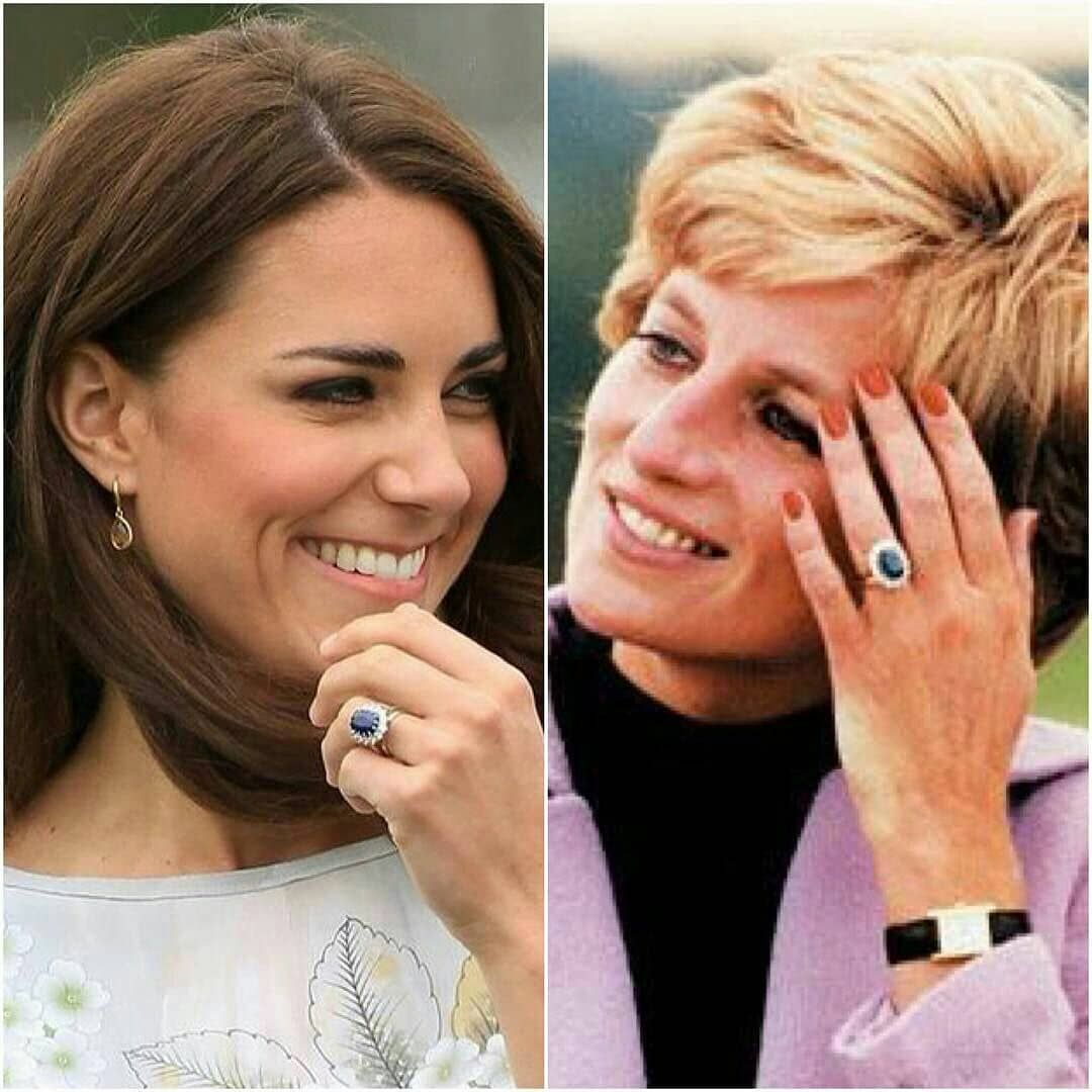 Catherine Duchess Of Cambridge Wearing Her Late Mother In Law Princess Diana S Famous Sapphi Princess Diana Ring Princess Diana Princess Diana Engagement Ring
