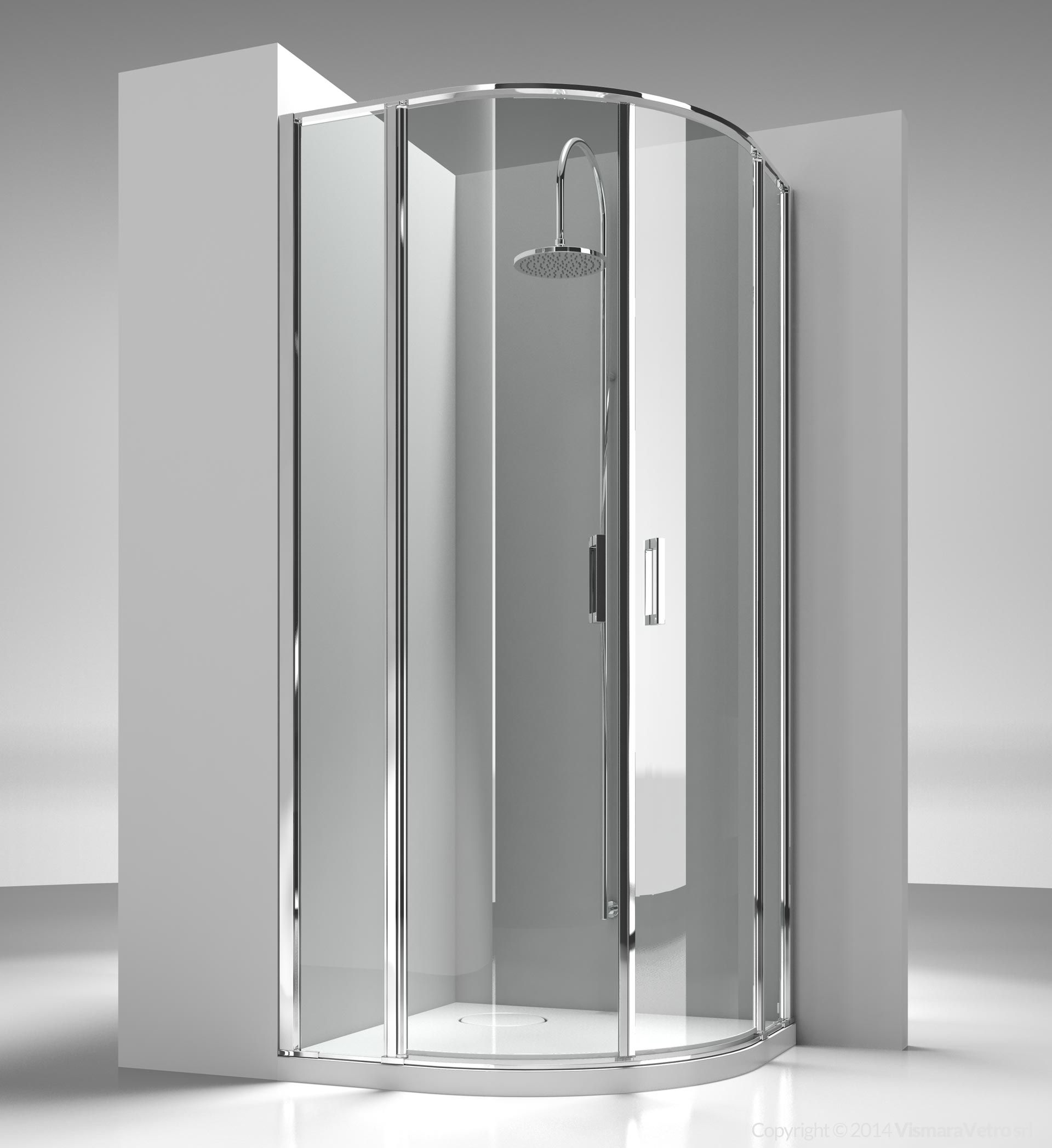Frameless Shower Enclosure For Rounded Tray R55 Cm With Two 180