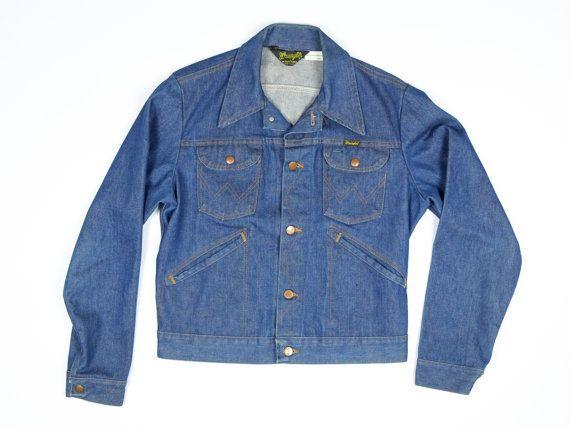 Wrangler 70s Vintage Jean Jacket Men S Medium Dark Indigo Etsy Vintage Jean Jacket Vintage Wrangler Jeans Vintage Jacket
