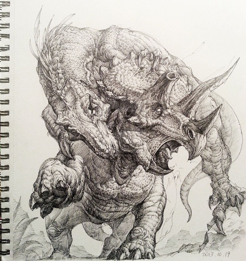 Tyrannosaurus Rex Triceratops Hunt by songqijin.deviantart.com on @deviantART #tyrannosaurusrex