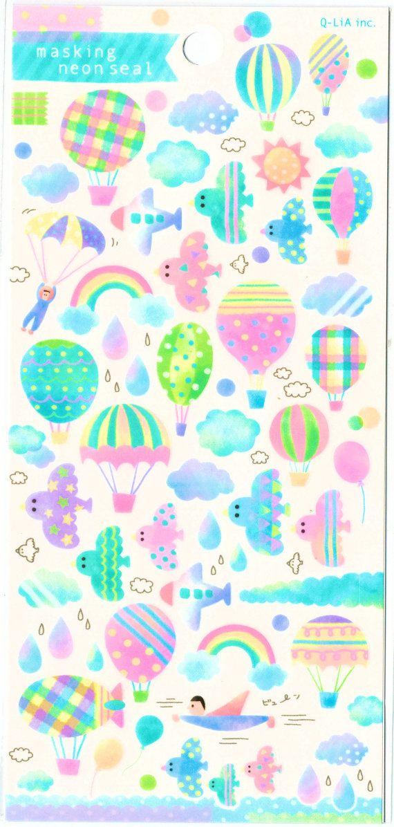 Kawaii Japan sticker Sheet Assort: Pastel NEON Masking by mautio