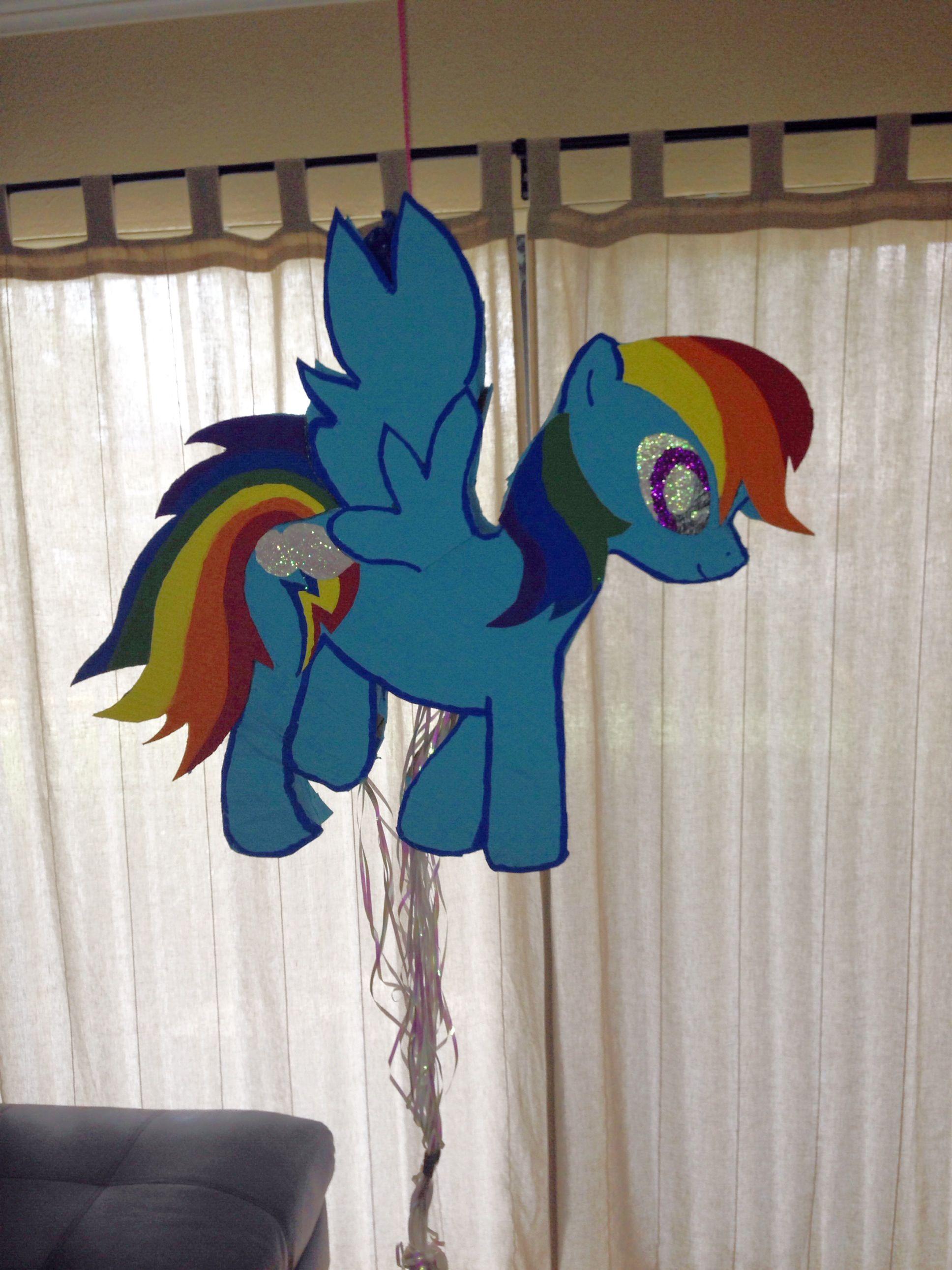 homemade diy my little pony piñata rainbow dash carboard tape