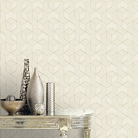 Gold And White Removable Wallpaper Hexagon 17 7inch X 78 7inch Geometric Gold Striped Wall Conta Gold Striped Walls Vinyl Wall Covering Gold Striped Wallpaper