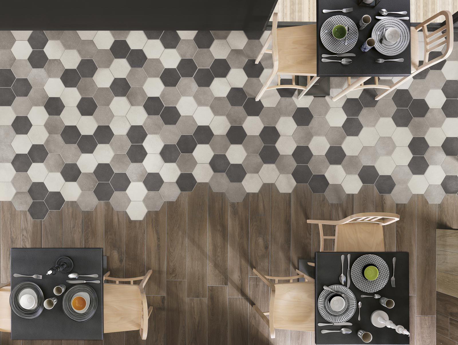rewind - porcelain stoneware mosaic tile effect | ragno | hexagon