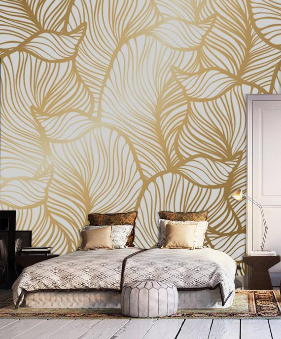 Leaf Wallpaper Print Painting Home Decor Wall Decal Etsy Leaf Wallpaper Wallpaper Walls Decor Asian Home Decor