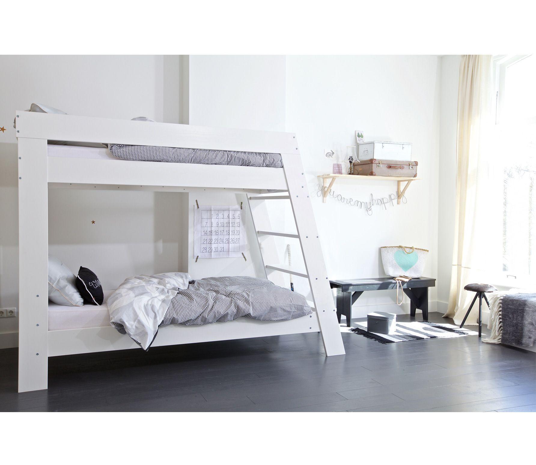 Voorbeeld van stapelbed geborsteld grenen wit woood nieuw huis kamer marijn pinterest - Stapelbed kleine kamer ...