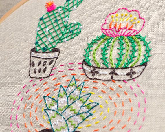Modern Hand Embroidery Patterns Cactus Embroidery Plant Embroidery