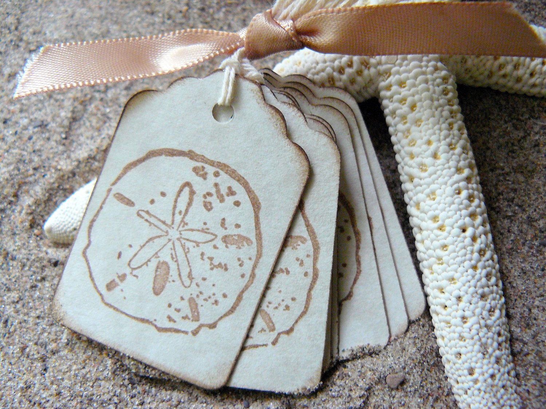 Sand Dollar Gift Tags Beach Wedding Favors Shower Favors Vintage Seashell Tags Gift Tags Dollar Gift Beach Wedding