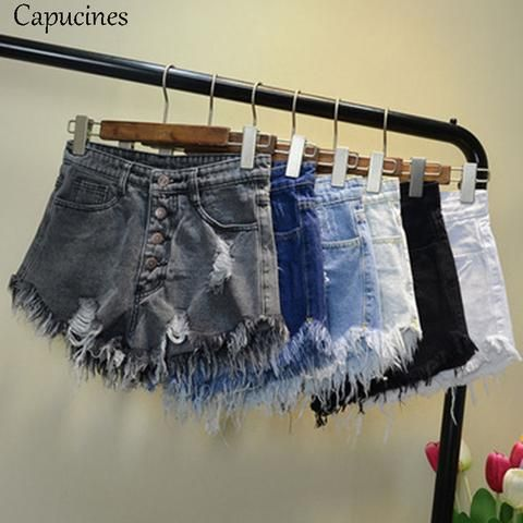 1270b5d85f Capucines Vintage Ripped Hole Tassel Blue Denim Shorts 2018 Summer Women  Casual Pocket Jeans Shorts High Waist Girls Hot Shorts