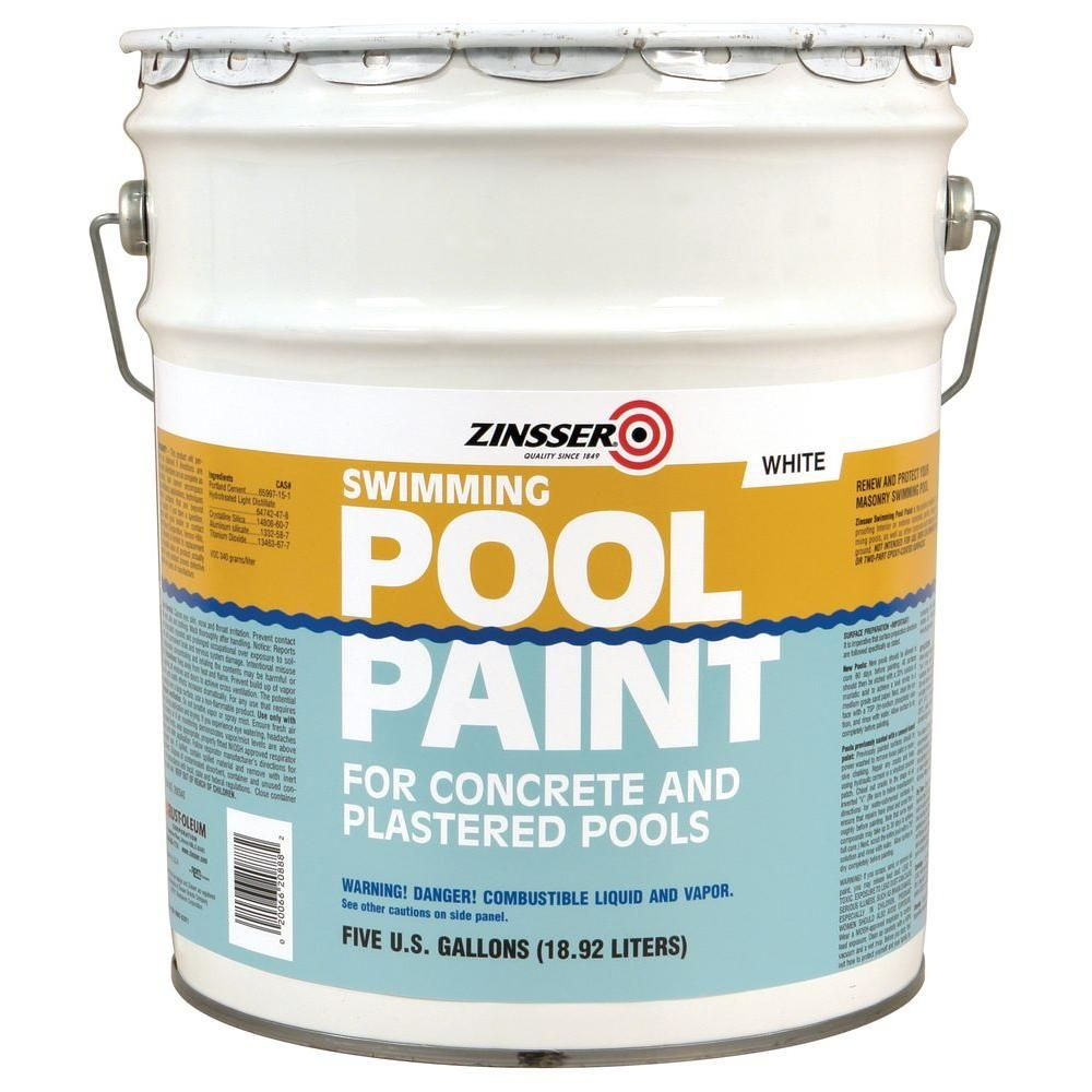 Zinsser 5 Gal White Flat Oil Based Swimming Pool Paint 260540 The Home Depot Pool Paint Pool Plaster Swimming Pools