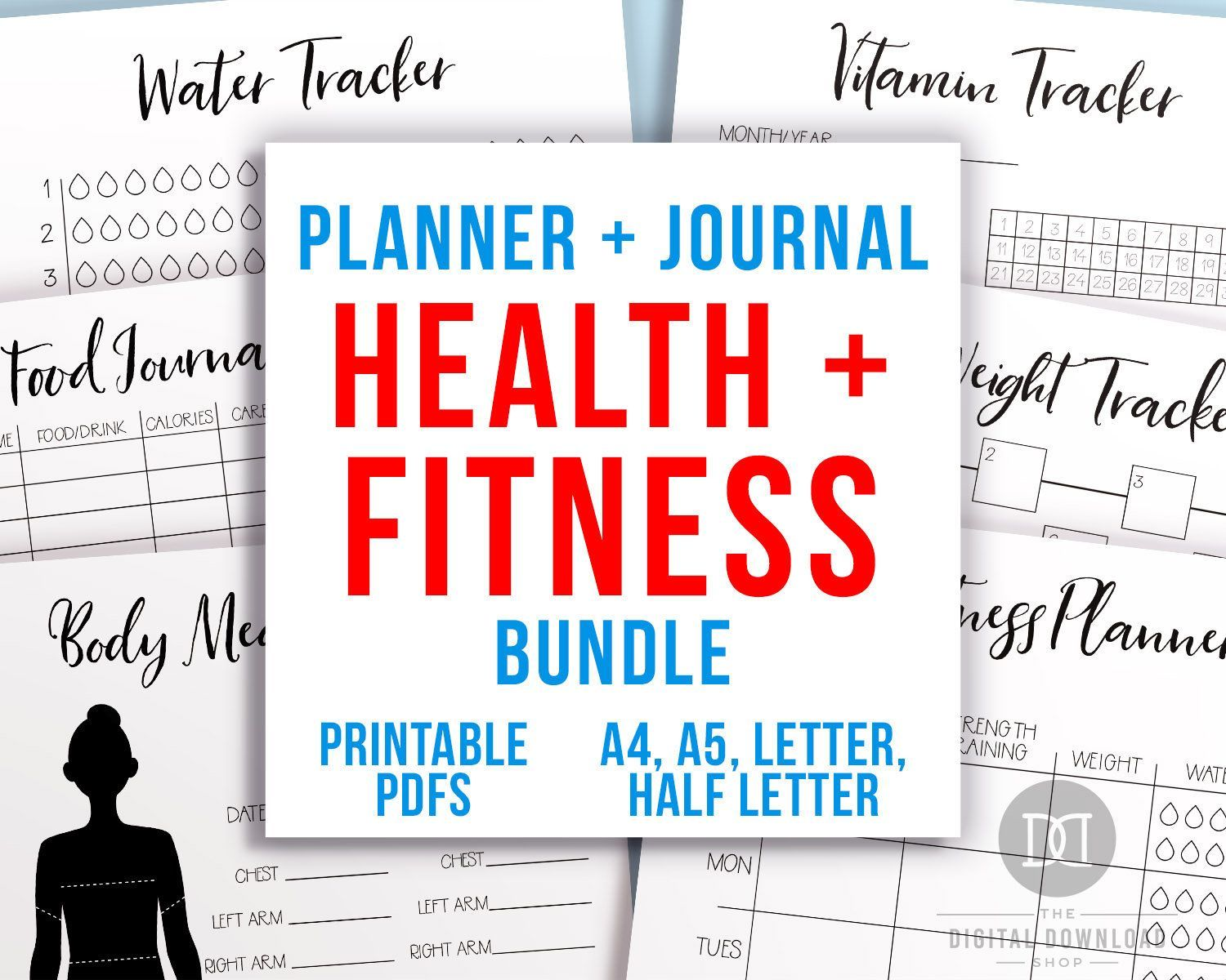 Bullet Journal Health and Fitness Planner Printable Bundle, Weight Loss Tracker, Workout Planner, Ex...