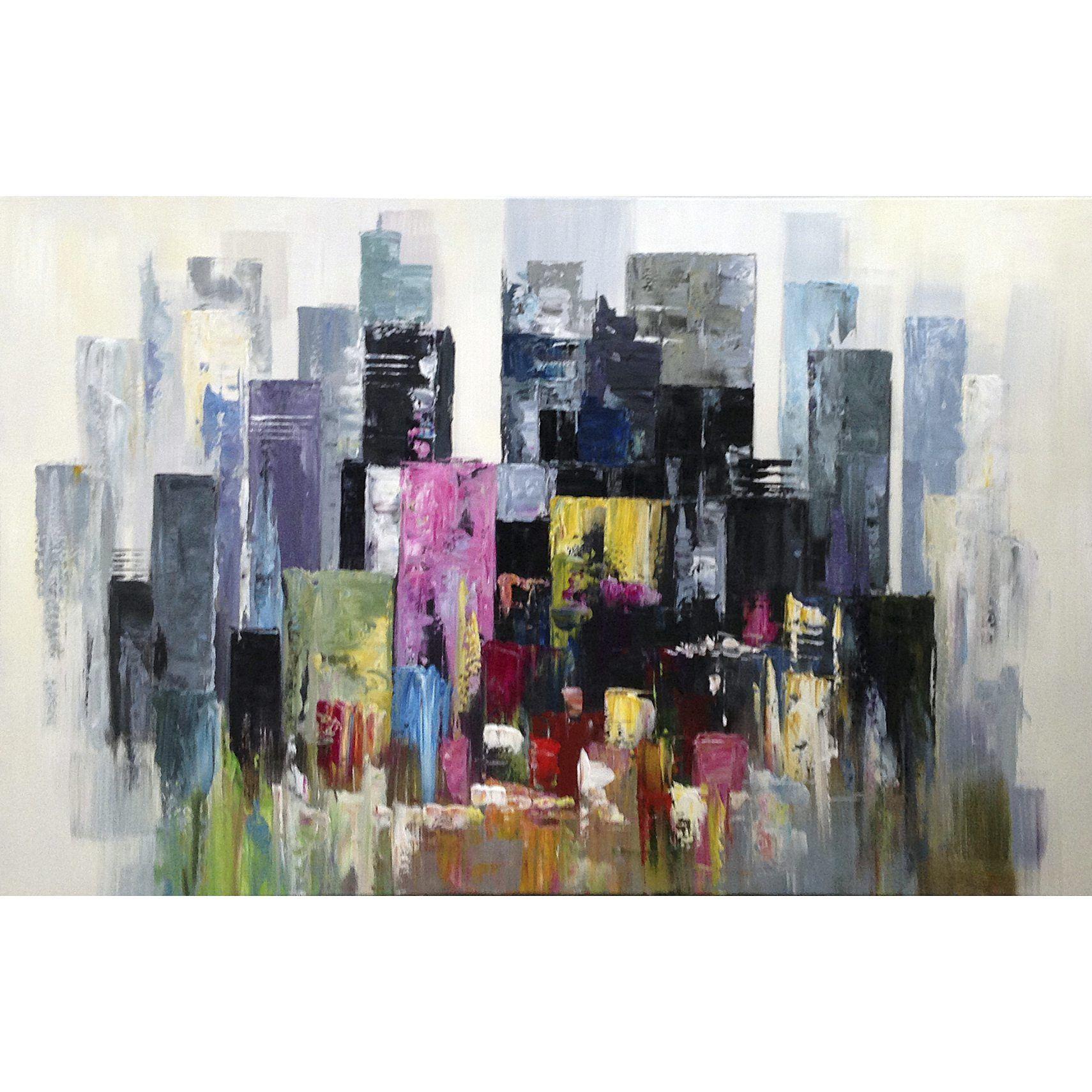 Pastel City Laerreds Billede 120 X 90 X 4 Cm Kob Online Ilva Dk Maleri Inspiration Abstrakt Billede