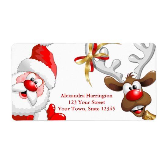 Santa and Reindeer Label | Zazzle.com