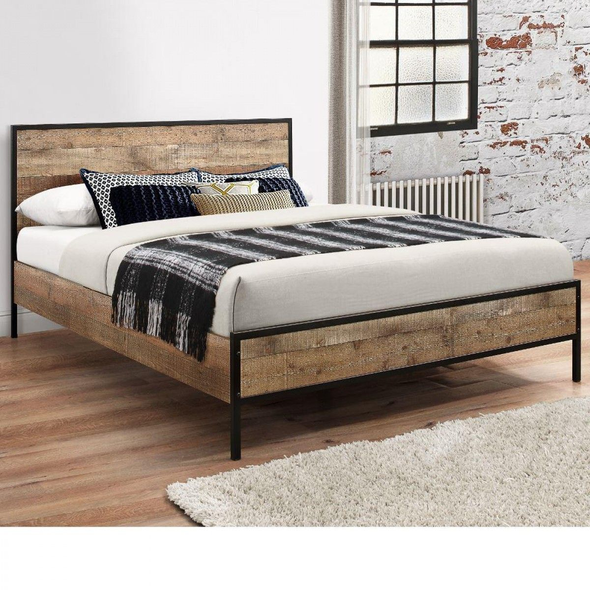 Urban Rustic Wooden And Metal Bed Wooden King Size Bed Rustic Bed Frame Rustic Bedding