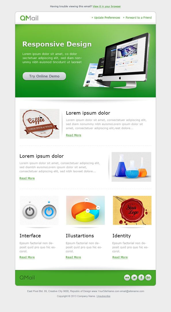 Free email template in green color that will help you to keep your