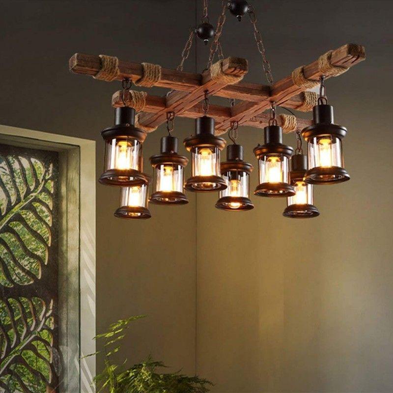 8 Kopf Vintage Industrial Style Holz Kronleuchter   Höhere Qualität   Personalisiertes Design ...