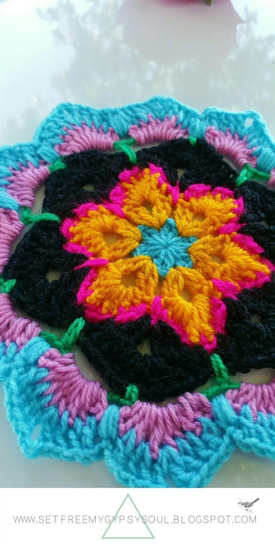 African Flower Mandala Blue Hawaii | Free Crochet Pattern - Love the ...