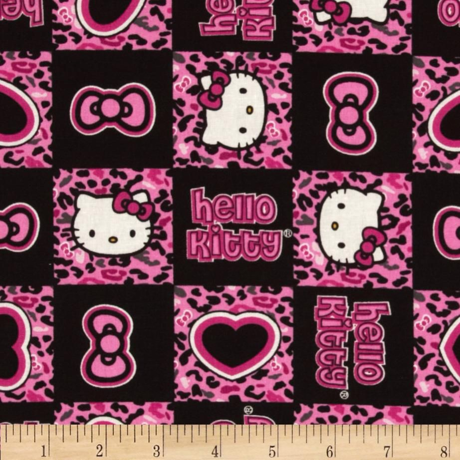 Pink cheetah print curtains - Hello Kitty Cheetah Patch Pink Black From Fabricdotcom Licensed To Springs Creative By Sanrio