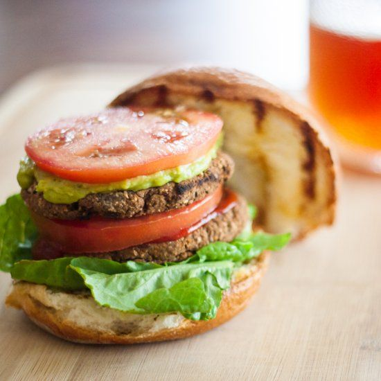 A delicious black bean burger free of gluten, egg, and dairy that will hold up on the grill without crumbling.