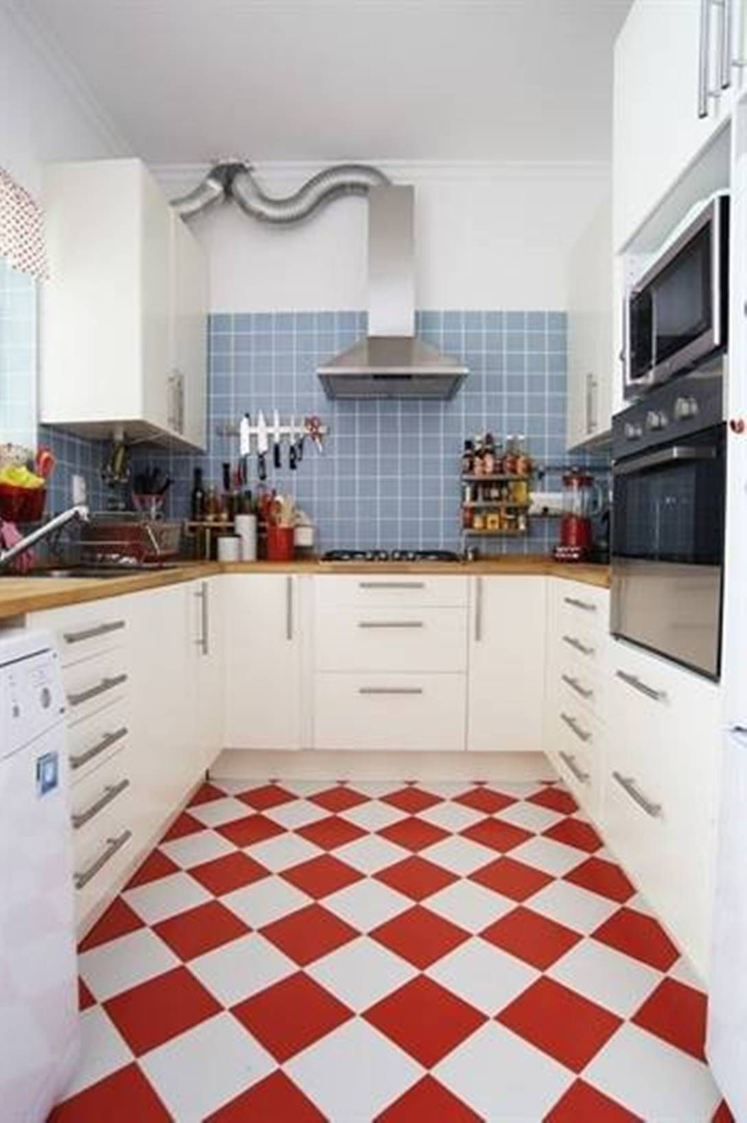 Red And White Checkered Kitchen Floor Tiles Film Furniture