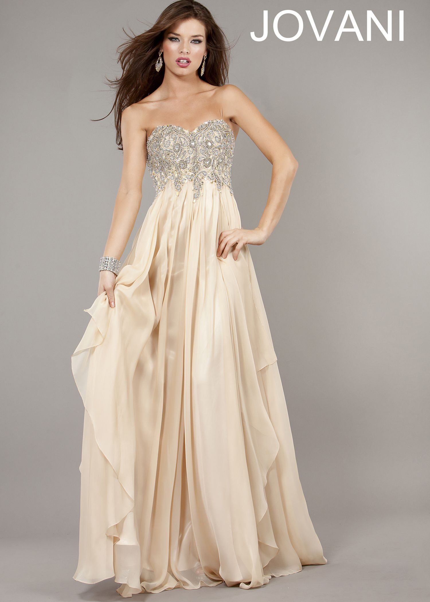 Classy Strapless Nude Evening Gown - Nude Beaded Prom Dress ...