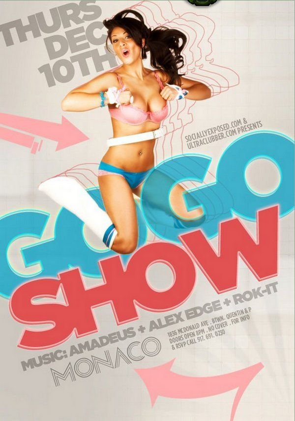 Go Go Show Party Club Flyer Graphic Design Example – Example Flyer