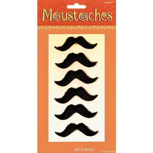 Mexican Moustache Black Stick On Fancy Dress Up Party Mariachi Fun Self-Adhesive