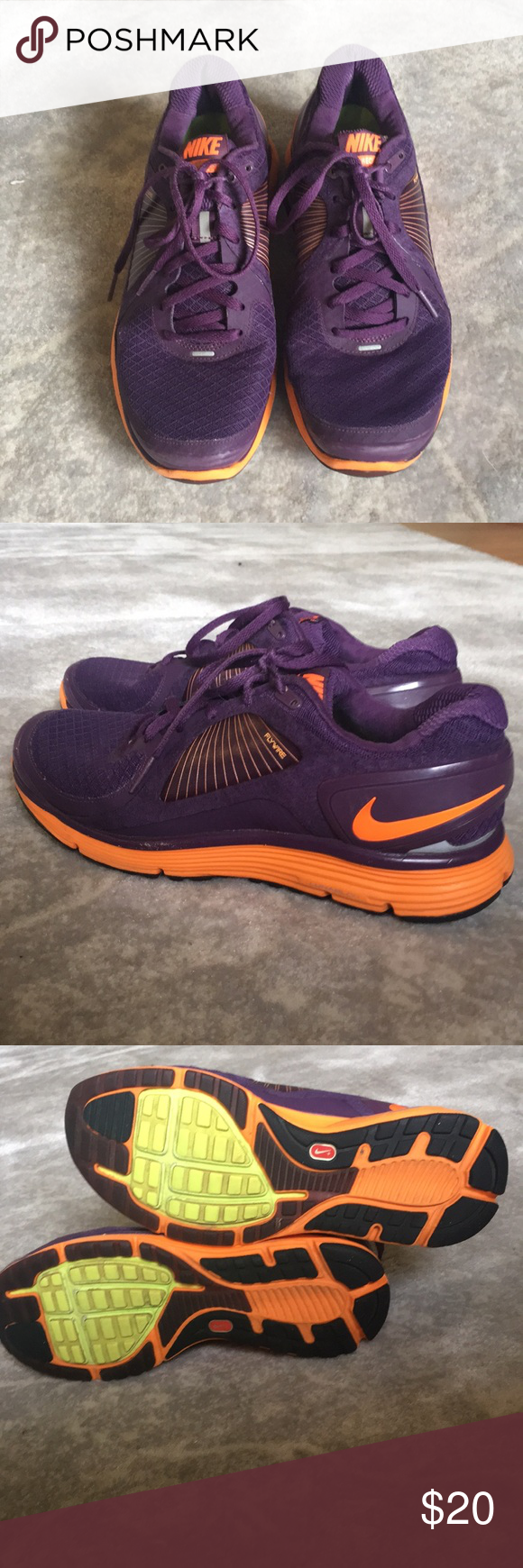 best service f2c93 0df60 Nike Lunar Eclipse with Flywire, Lunarlon, Fitsole Purple and orange Nike  trainers. These are super comfortable and stylish. These have definitely  been worn ...