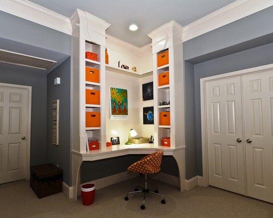 Hall Built In Bookshelf Corner Desk Design Pictures Remodel Decor And Ideas
