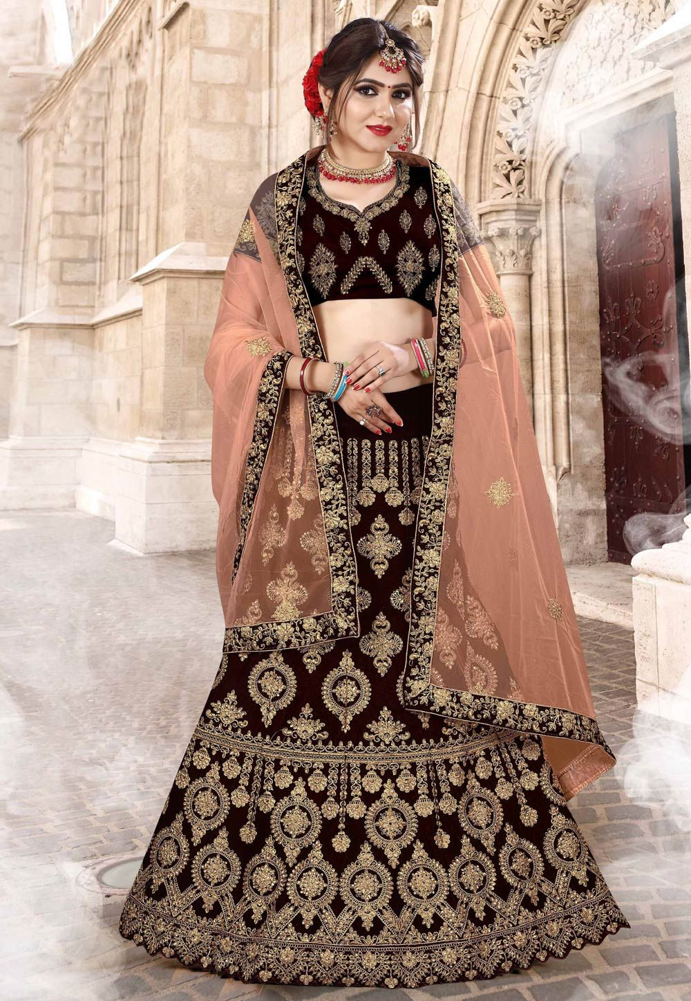 19f1a382f1 Buy Brown Velvet Embroidered Lehenga Choli 154891 online at best price from  vast collection of Lehenga Choli and Chaniya Choli at Indianclothstore.com.