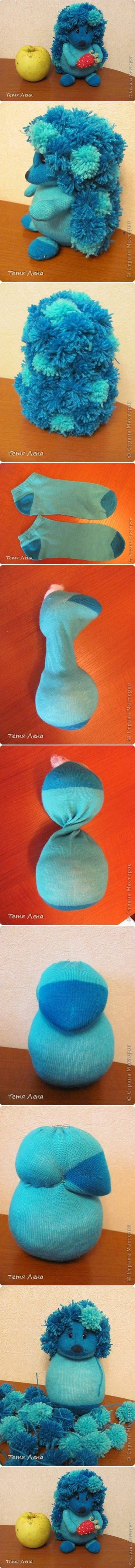 How to make Sock Hedgehog pets step by step DIY tutorial instructions
