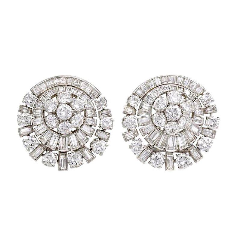 1950s French Diamond Clip Earrings From A Unique Collection Of Vintage On