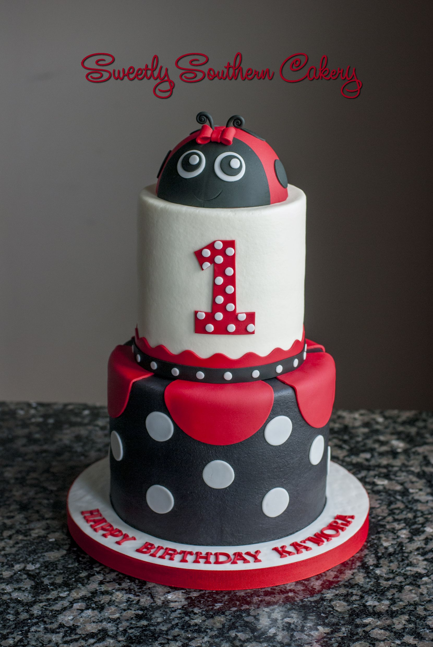 Ladybug First Birthday Cake Sweetly Southern Cakes 2016