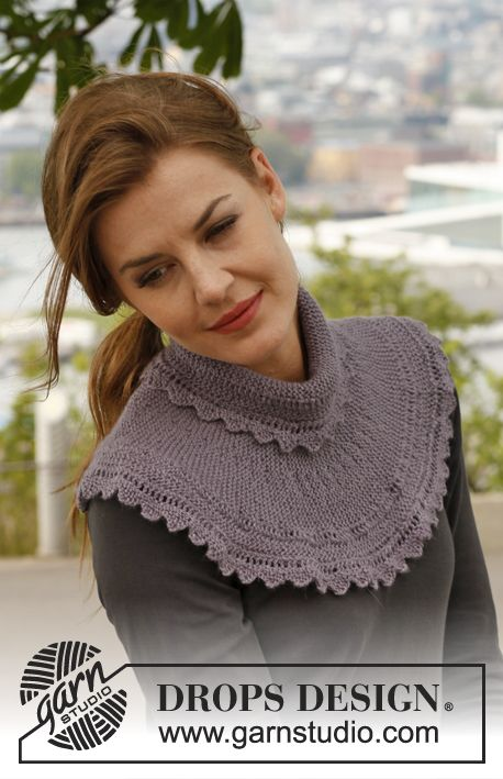 Knitted DROPS neck warmer with garter st and zigzag edges in ...