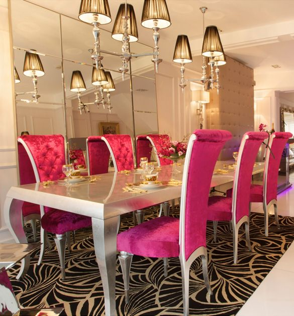 High End Silver And Pink Dining Set Cat FurnitureDining Room