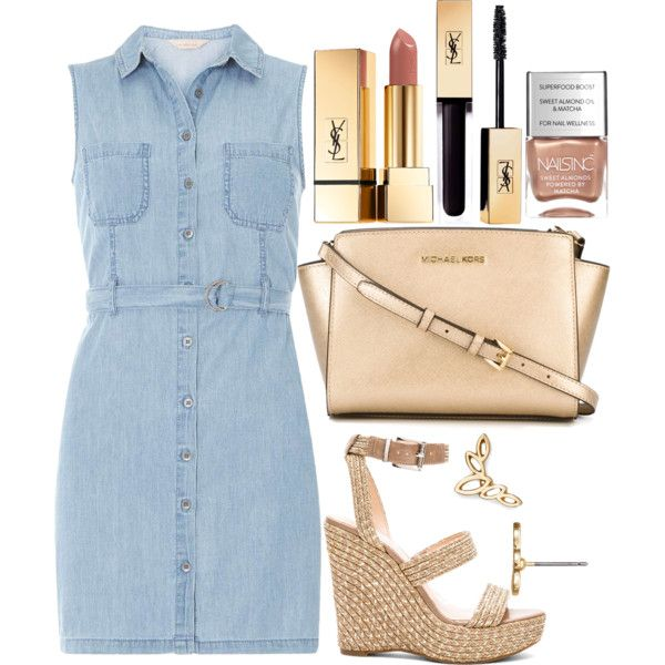 Untitled#1405 by mihai-theodora on Polyvore featuring moda, Dorothy Perkins, Vince Camuto, MICHAEL Michael Kors, BaubleBar, Yves Saint Laurent and Nails Inc.