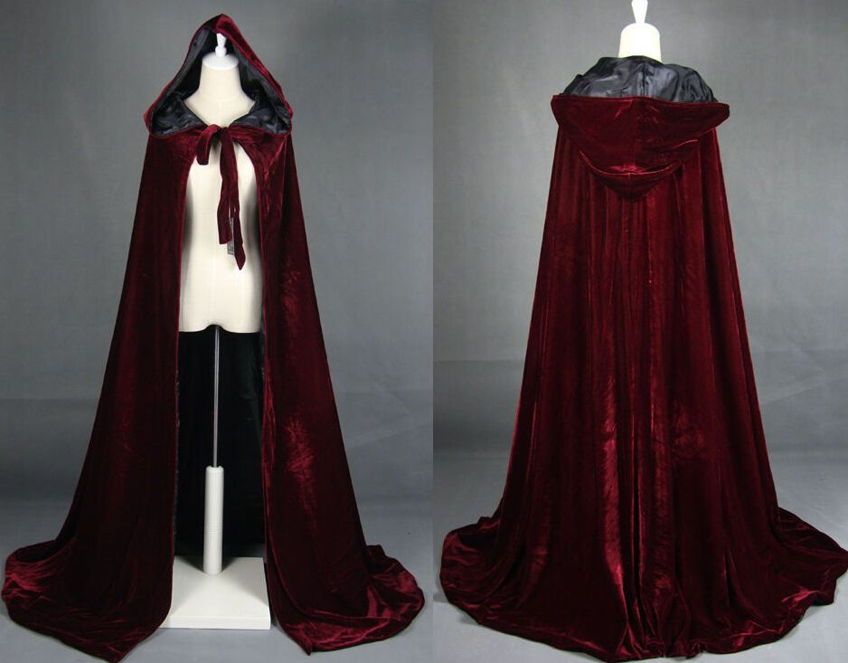 Halloween Costume Vampire Witchcraft Cape Gothic Hooded Velvet Cloak Wicca Robe