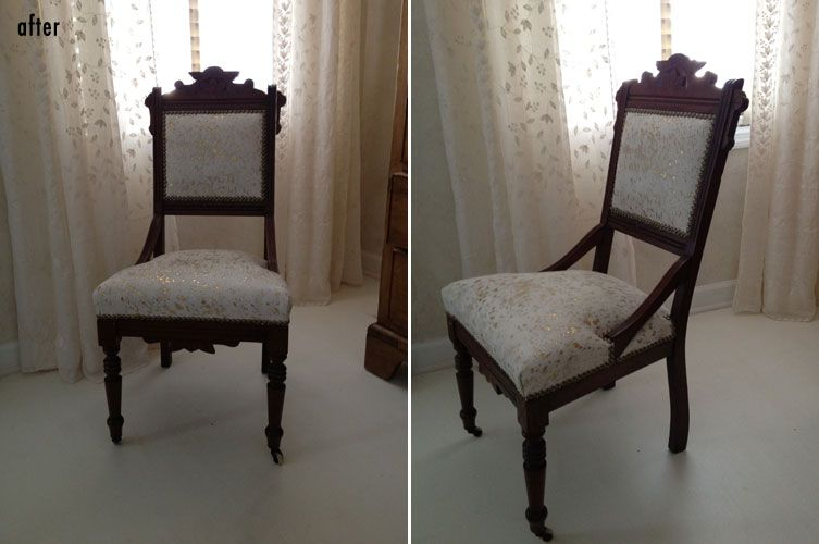 Antique East Lake Chair recovered in an off-white hide with metallic gold  burnout spots - Antique East Lake Chair Recovered In An Off-white Hide With Metallic