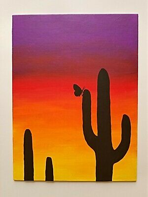 Sunset Landscape Original Acrylic Painting Nature Abstract Art by SynTax