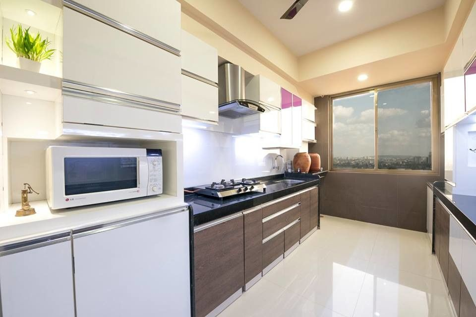 contemporary style kitchen interior view the kitchen with two side platform top black stone on kitchen interior top view id=45111