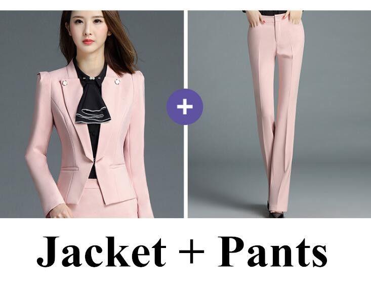 773a8ed01e5 PYJTRL Brand Two Piece Set Pink Office Uniform Designs Women Elegant  Fashion Skirt Formal Suits Ladies Business Outfits Suit