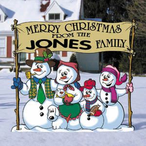 "Snow - Family Greeting Pattern: Personalize the sign for your special greetings! Sweet snow-family warms hearts all season long. Full-size pattern, easy-to-follow instructions. 46""H x 52""W. Pattern #1411 $8.95 ( crafting, crafts, woodcraft, pattern, woodworking, yard art ) Pattern by Sherwood Creations"