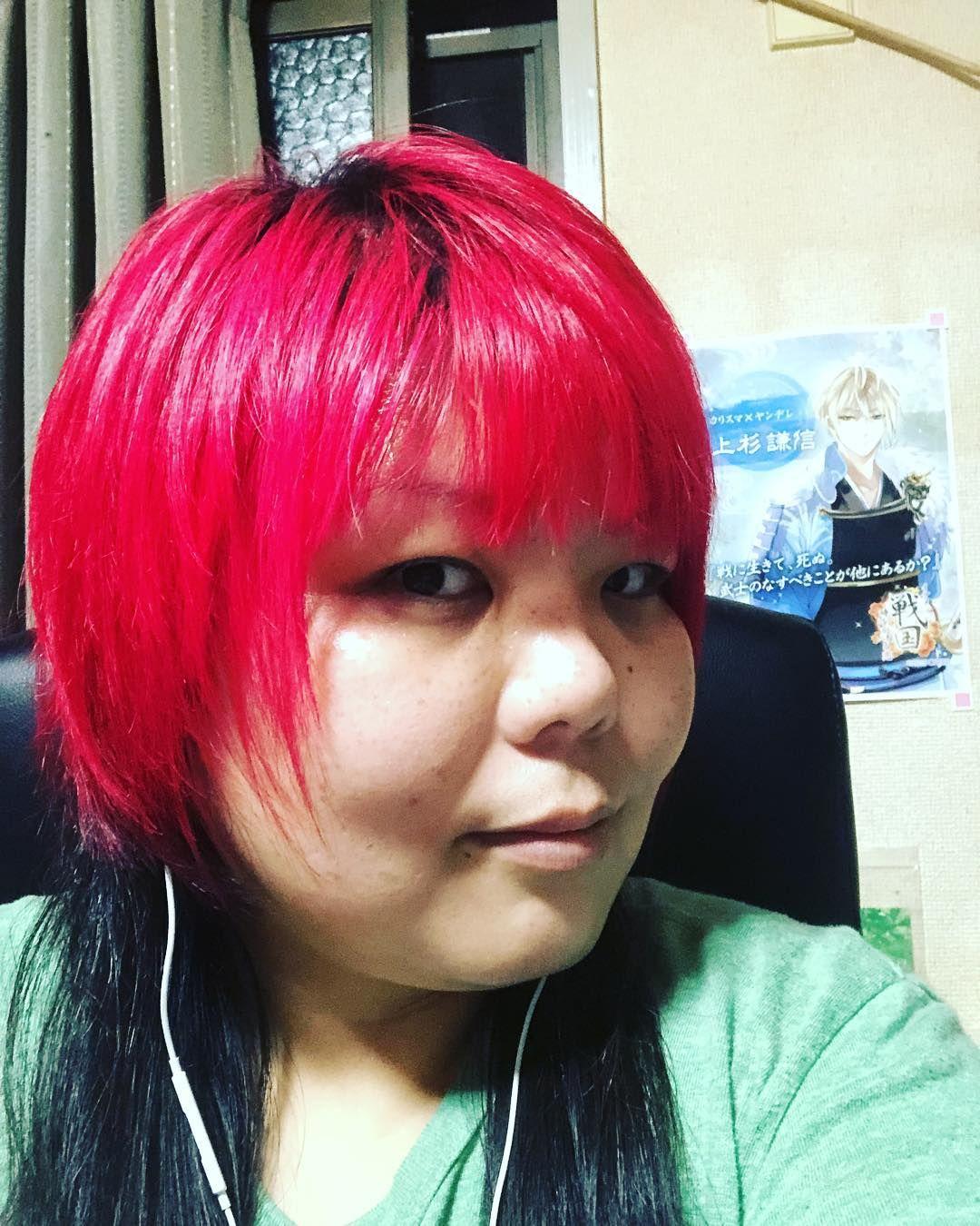 イメチェンしました ฅ ๑ ฅキャ 黒髪じゃなくて赤髪 マニパニの