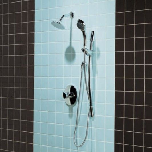 black and blue bathroom tile wall with simple shower walls For