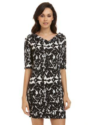 LEOTA  Half Sleeve Sheath Dress, Ink Blot